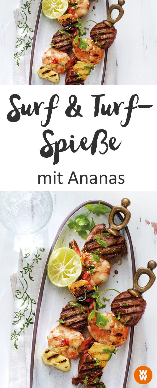 Surf and Turf-Spieße mit Ananas, Spieße, Grill, Hauptgericht, Rinderspieße | Weight Watchers
