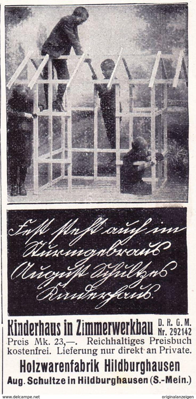 Werbung - Original-Werbung/ Anzeige 1908 - KINDERHAUS / HOLZWARENFABRIK HILDBURGHAUSEN - ca. 45 x 90 mm