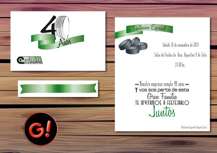 Diseño de Tarjeta para Invitación Diseño de Sticker personalizado - FIESTA 40 ANIVERSARIO -