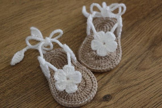 Crochet baby sandals, gladiator sandals, booties, shoes, slippers, flower, white, tan, gift Size:9cm,10cm,11cm #>=#>=#>=#>=#> Click on the pin to check out discount price, color, size, shipping, etc. Save and like it!