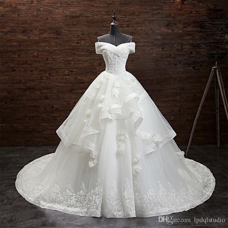 Ivory Lace Ball Gown Wedding Dresses Court Train Strapless Lace-up Back Applique with Beads Sequins Bridal Gowns Vestido De Novia Wedding Dress Wedding Dresses Vestido De Novia Online with $269.0/Piece on Lpdqlstudio's Store | DHgate.com