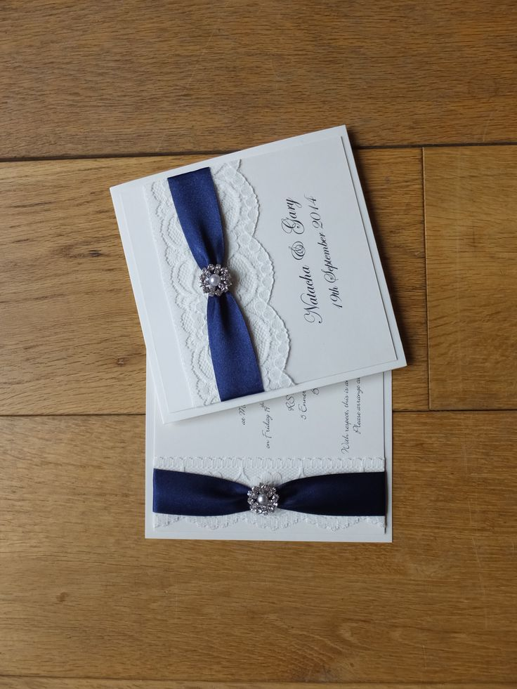 navy blue and kelly green wedding invitations%0A Prestige Wedding Invitation with lace and pearl embellishment in navy blue