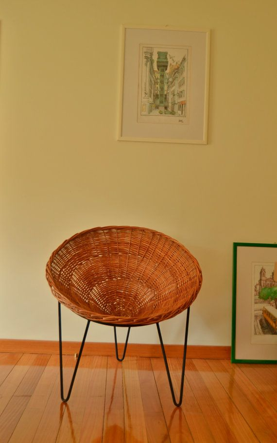 FREE SHIPPING. Retro Wicker Chair. Conical structure made of wicker and Support…