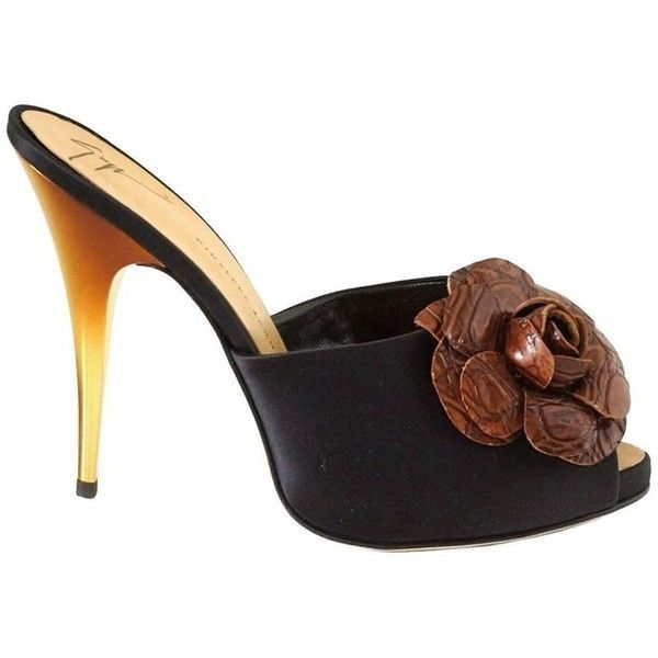 Preowned Giuseppe Zanotti Shoe Satin Mule Faux Croc Flower Ombre Gold... (37.370 RUB) ❤ liked on Polyvore featuring shoes, black, flower shoes, high heel mule shoes, black mule shoes, mule shoes and black mules