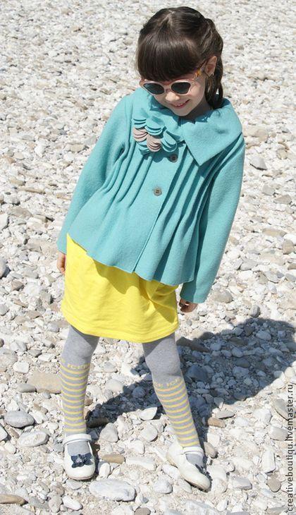 Верхняя одежда ручной работы. Ярмарка Мастеров - ручная работа. Купить Пальто из шерсти Бирюза для девочки. Handmade. Бирюзовый