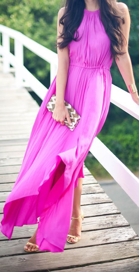 Calypso St. Barth Fuchsia Flowy Asymmetric Hem Halter Maxi Dress by With Love From Kat