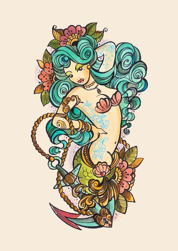 Vintage Mermaid Tattoos | Mermaid tattoo sketch by Dawnii Fantana | via Tumblr