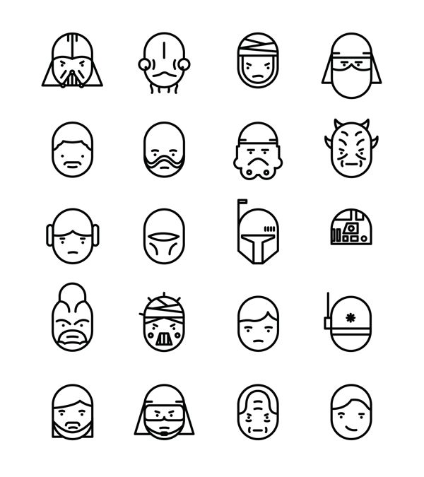 STAR WARS | Character Icons by James S Clarke, via Behance