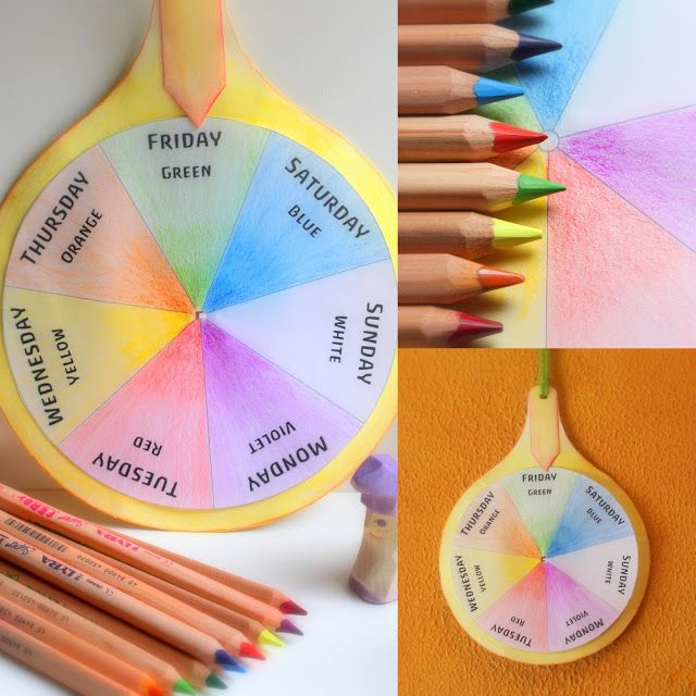 It's a Waldorf, not Montessori, but nevertheless, a great tool/idea. Daily Colors: Week Rhythm Color Wheel - Free PDF-pattern download