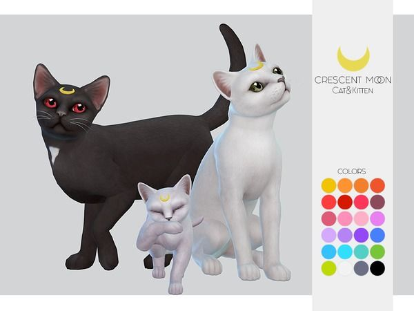 Cat Kitten Crescent Moon By Kalewa Via Tsr Pets Accesoires Cats Dogs Sims 4 Ts4 Maxis Match Mm Cc Pin Sims 4 Pets Sims 4 Anime Sims Pets