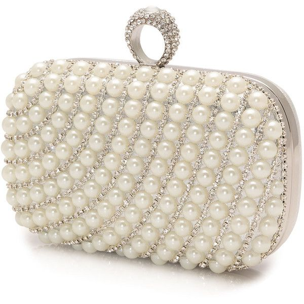Mascara Silver / Ivory-White Plus Size Pearl clutch bag ($56) ❤ liked on Polyvore featuring bags, handbags, clutches, plus size, silver, silver glitter purse, silver glitter handbag, ivory handbag, silver purse and sparkly purses