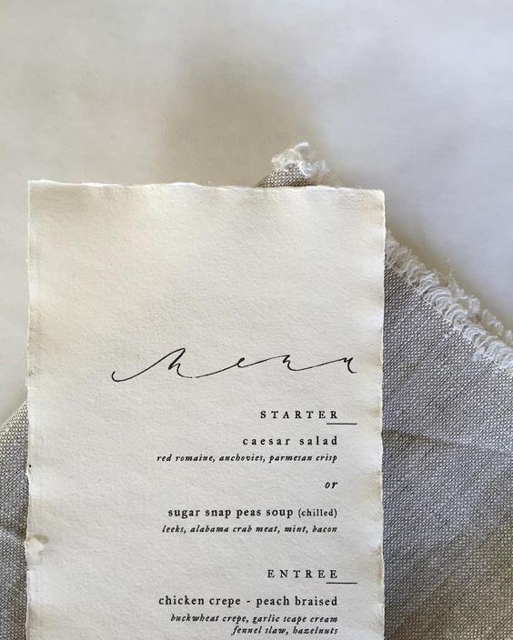 simple menu; beautiful calligraphy