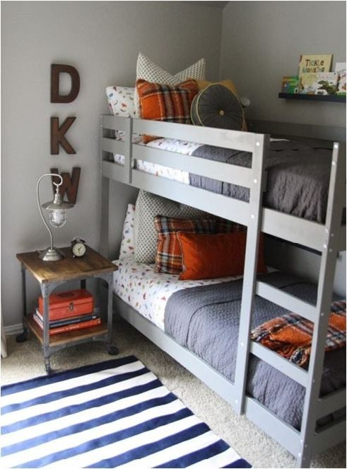 a cute gray and orange boys bedroom with gray bunk bed small nightstand and schoolhouse inspired metal light by holly mathis interiors color scheme for - Boys Room Ideas With Bunk Beds