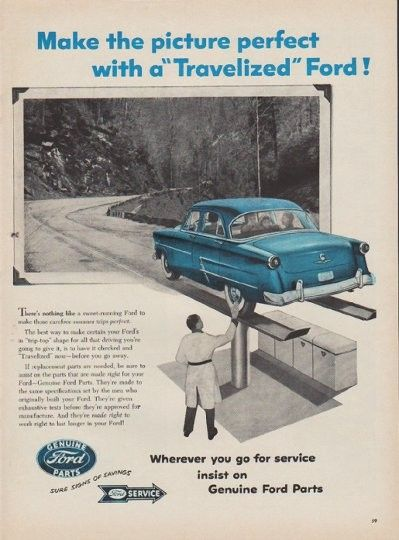 "Description: 1954 FORD PARTS vintage magazine advertisement ""Make the picture perfect"" -- Make the picture perfect with a ""Travelized"" Ford! There's nothing like a sweet-running Ford to make those carefree summer trips perfect ... If replacement parts are needed, be sure to insist on the parts that are made right for your Ford -- Genuine Ford Parts."