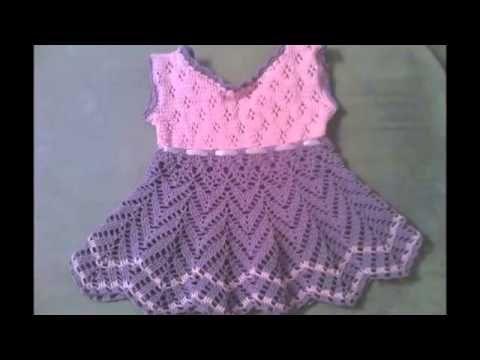 Pequeños vestidos tejidos a crochet para niñas - YouTube