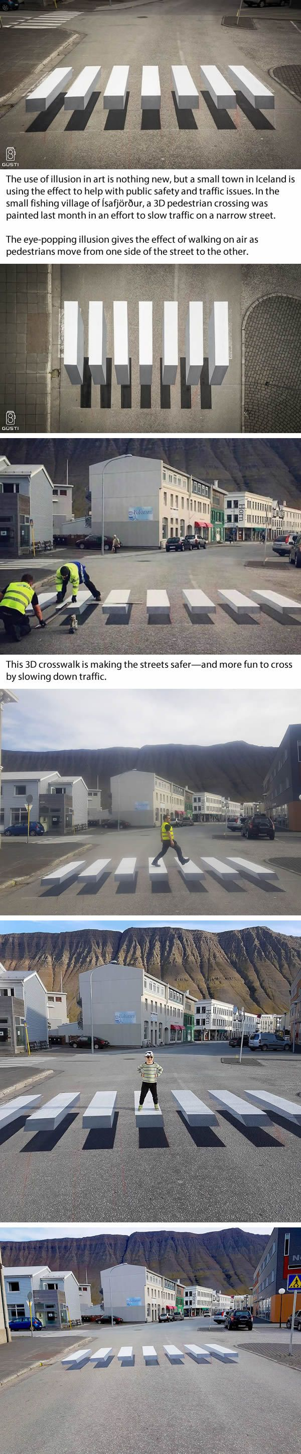 Iceland Has 3D Zebra Stripe Crosswalk with Stunning Optical Illusion