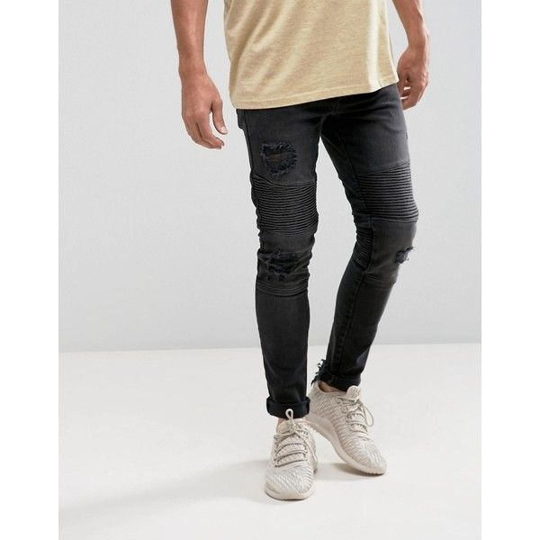 ASOS Super Skinny Biker Jeans In Washed Black With Rips ($58) ❤ liked on Polyvore featuring men's fashion, men's clothing, men's jeans, black, mens super skinny ripped jeans, mens straight jeans, mens torn jeans, mens ripped skinny jeans and mens skinny jeans