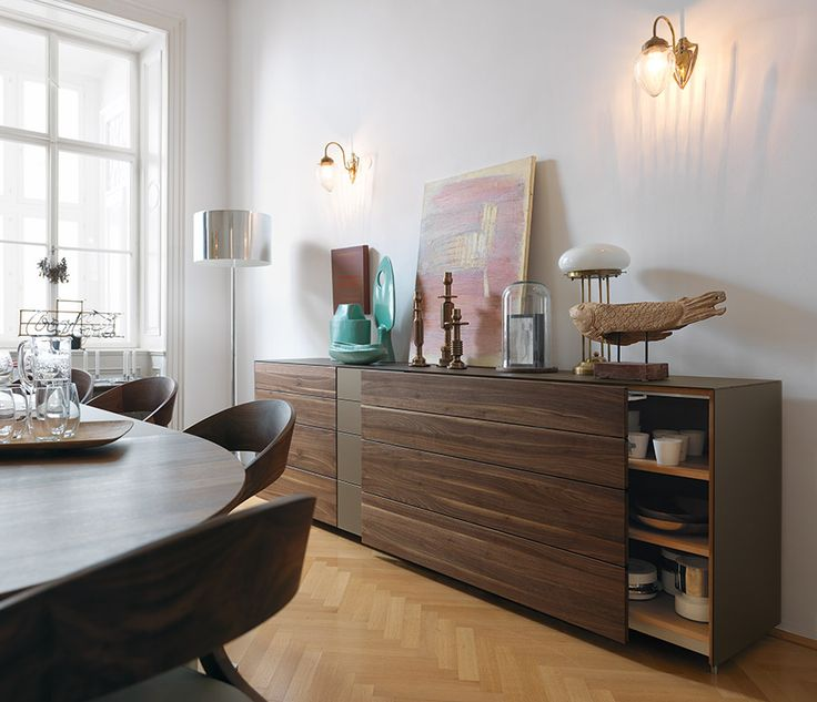Wharfside Furniture | Cubus Pure - coloured glass and wood sideboard | designed by Team7
