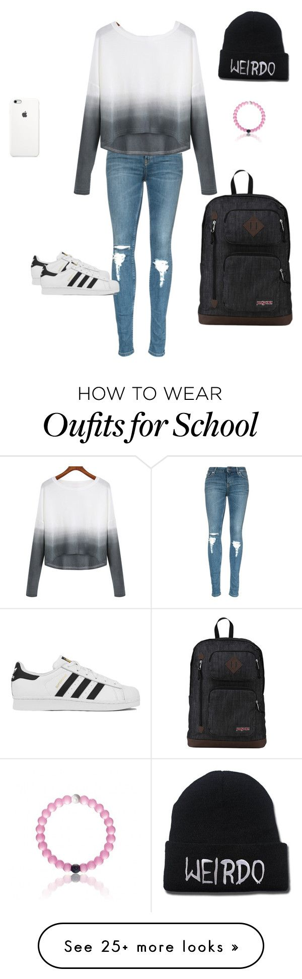 """School outfit idea"" by lauren007 on Polyvore featuring adidas, JanSport, women's clothing, women's fashion, women, female, woman, misses and juniors"