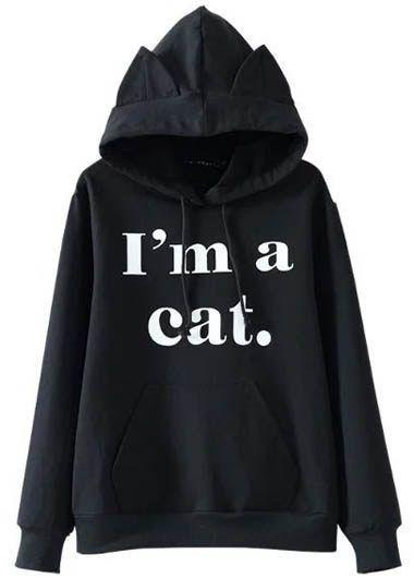 Hooded Collar Long Sleeve Letter Print Black Sweatshirt