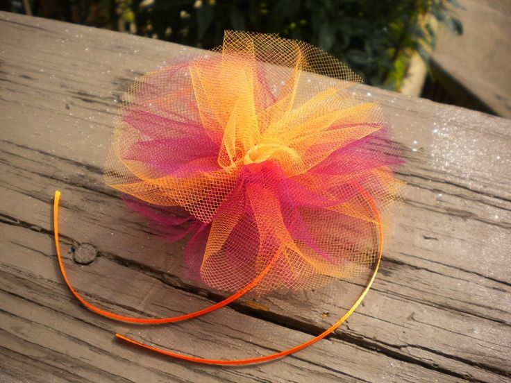 Soft Sunset - tulle hair bow by =KateSkirmish on deviantART