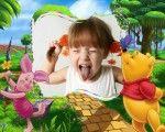 Montajes y Fotomontajes para Bebes y Niños | Bonito marco para fotos de niños o de bebes con Pooh y el cerdito amigo