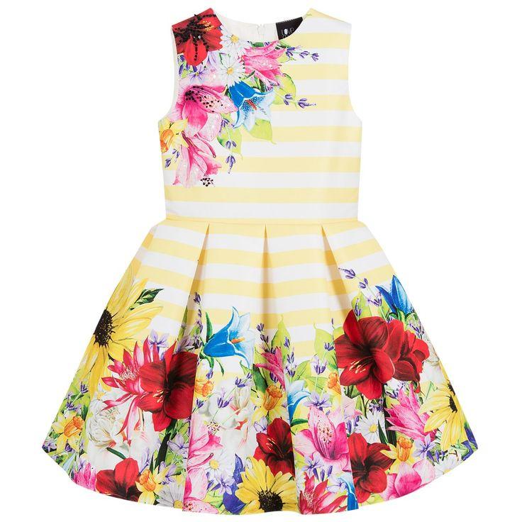 Love Made Love - Girls Yellow Striped & Floral Dress | Childrensalon