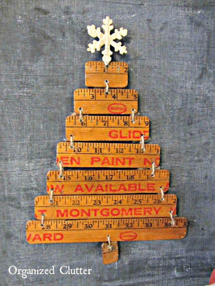 Re-Purposed Yardstick Christmas Tree www.organizedclutterqueen.blogspot.com