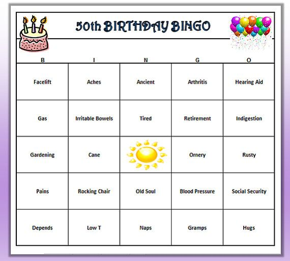50th Birthday Party Bingo Game (60 Cards) Old Age Theme