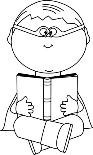 Black and White Boy Superhero Reading a Book | Superhero ...