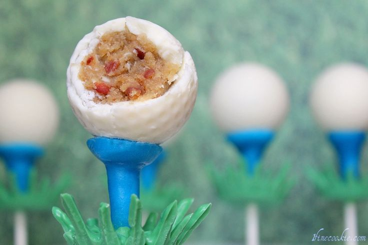 Golf Ball Cake Pops, Made with Beer Cake and Beer & Bacon Frosting. A great gift for Father's Day, golf lovers, bachelors, and me.  #father's #day #golf #player #ball #cake #pops #beer #bacon #recipe #food #desserts #white #chocolate #lollipop #sticks #men #guys # #grass: Golf Cake, Beer Cakes, Cake Pops, Golf Lovers, Fathers Day, Golf Ball Cake, Bacon Recipe