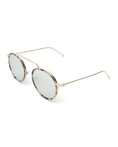 Round Geometric Bar Mirrored Sunglasses, White