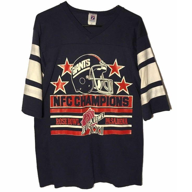 Vtg Logo 7 Mens Blue New York Giants Super Bowl XXI T-Shirt 1986 Medium Rare #Logo7 #NewYorkGiants