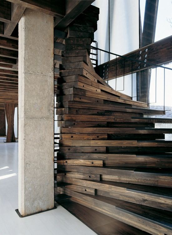This is a very dramatic staircase, I would not suggest for the home but it could be. Adds warmth and the spiral creates so much drama with the darkness of the wood.