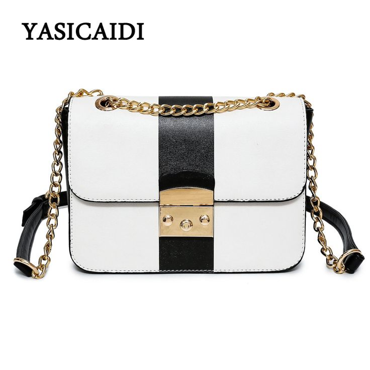 Small Black Crossbody Bag for Women with Chain Women Bag Fashion Women's Patchwork Pu Leather Messenger Bags for Girls