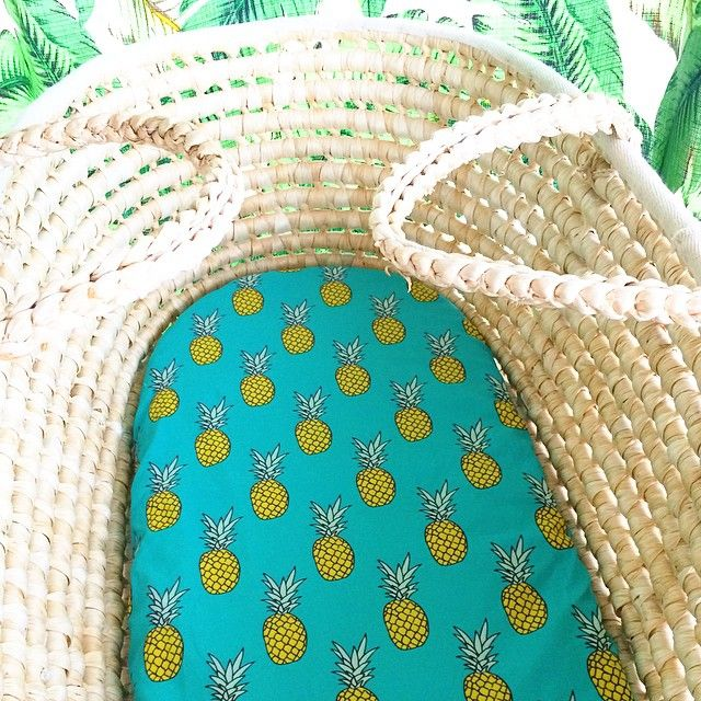 B L U E . P I N E S  fitted bassinet sheet // moses basket purchase: http://www.rushtorelax.com.au/product/blue-pineapple