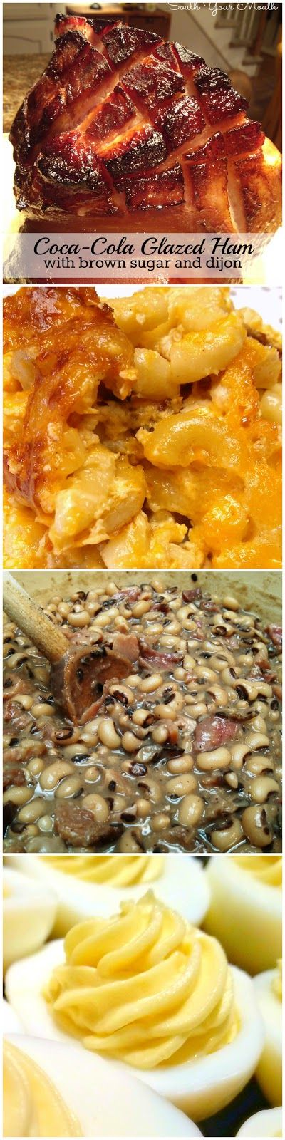 Southern Christmas Dinner Recipes: Coca-Cola Glazed Ham, Macaroni & Cheese, Black-eyed, Southern-Style Coleslaw, Sweet Potato Praline Casserole, Greasy Rice, Deviled Eggs, Cheese Muffins, Perfect Cheesecake, Pistachio Cake & Eggnog Pie