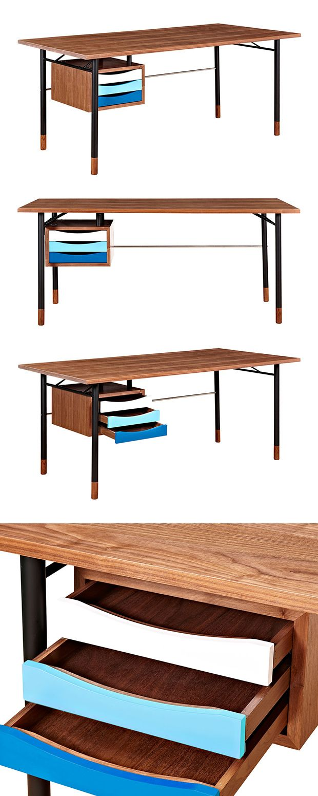 With its sleek, minimal silhouette, this Gradient Desk will make a stylish and sophisticated addition to any designated home office. Made with walnut wood and stainless steel legs, this mid-century–ins... Find the Gradient Desk, as seen in the Organized by Mid-Century Design Collection at http://dotandbo.com/collections/organized-by-mid-century-design?utm_source=pinterest&utm_medium=organic&db_sku=115576