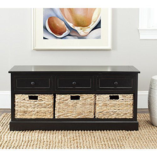 Keep clutter tucked away in the Damien 3-drawer storage unit offering stylish organization for entryways, family rooms and bedrooms. Crafted of sturdy pine with a distressed black finish, Damien offers three handy drawers for smaller items above three ample wicker baskets that slide in and out... more details available at https://furniture.bestselleroutlets.com/accent-furniture/storage-chests/product-review-for-safavieh-home-collection-damien-distressed-black-3-drawer-storage