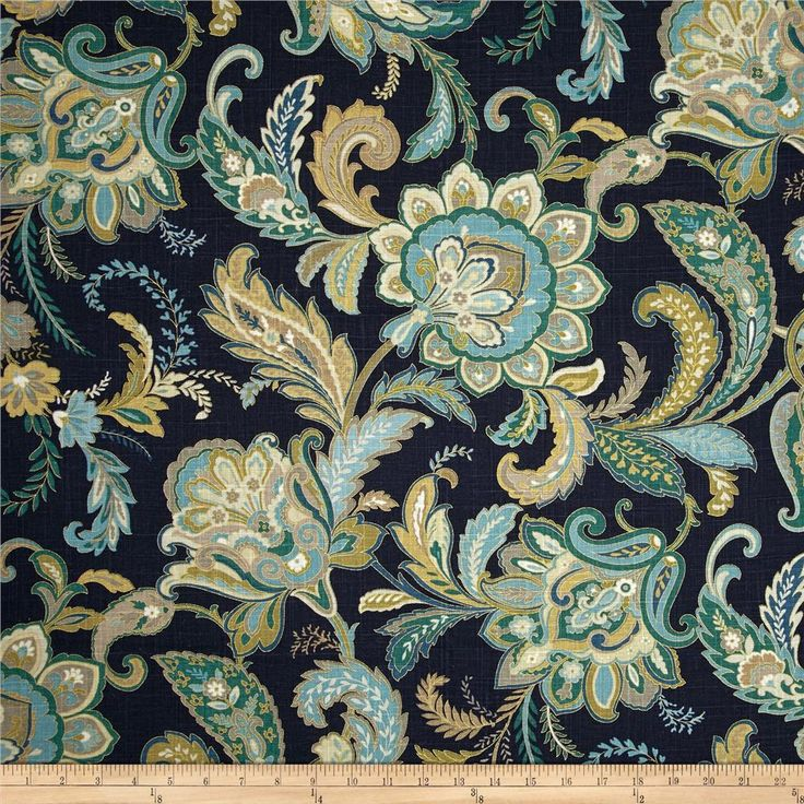 Swavelle/Millcreek Maylie Blend Ocean Blue from @fabricdotcom Screen printed on a linen/rayon blend; this versatile medium weight fabric is perfect for window treatments (draperies, valances, curtains and swags), accent pillows, upholstering furniture, headboards, ottomans and poufs. Colors include grey, tan, ivory, teal, jade and navy with metallic gold accents throughout the design.