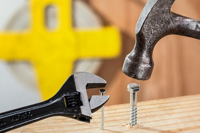 Use a hammer to drive in any nails or use a spanner to tighten bolts so they don't come loose.