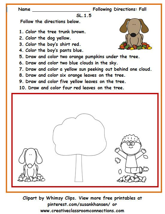 Students will love the chance to follow directions and complete the fall scene in this worksheet. View other free printables at pinterest.com/susankhansen/