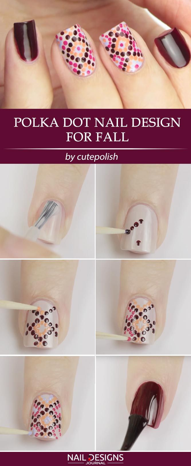3 Superb Burgundy Nail Designs for Fall You Need to Try ❤ Polka Dot Nail Designs for Fall When it comes to nail designs for fall, the options are limitless. The thing is that we want you to be able to take part in the creation of a masterpiece! https://naildesignsjournal.com/nail-designs-for-fall/ #naildesignsjournal #nails