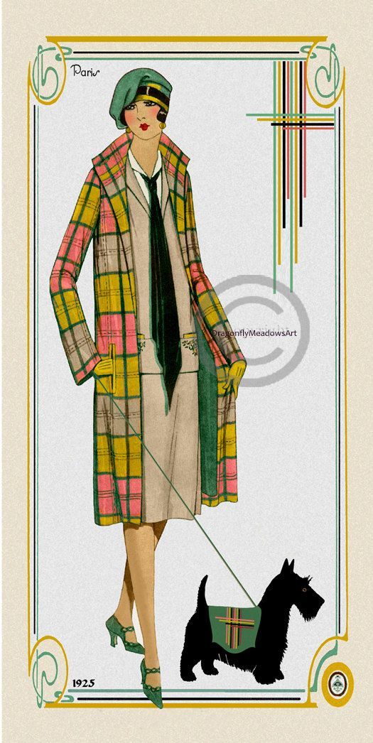 Art Deco Coat Fashion Print. From 1925 and showing a flapper girl dressed in a…