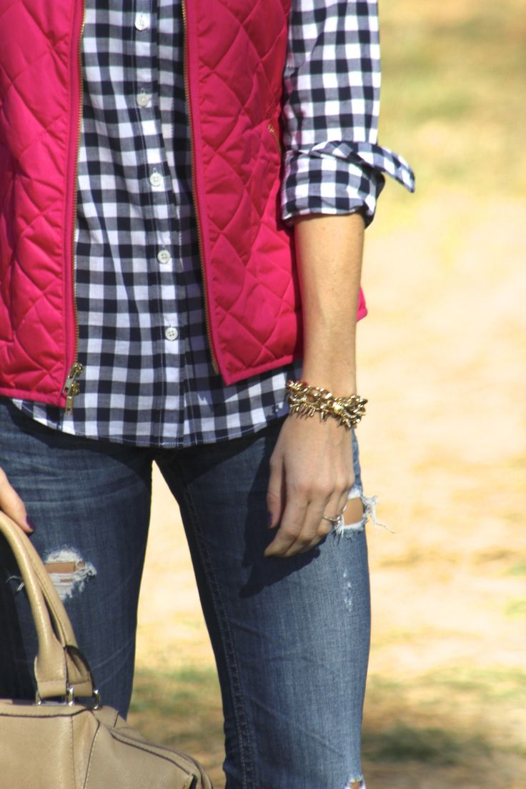 gingham button down, jeans, pink vest & gold jewelry