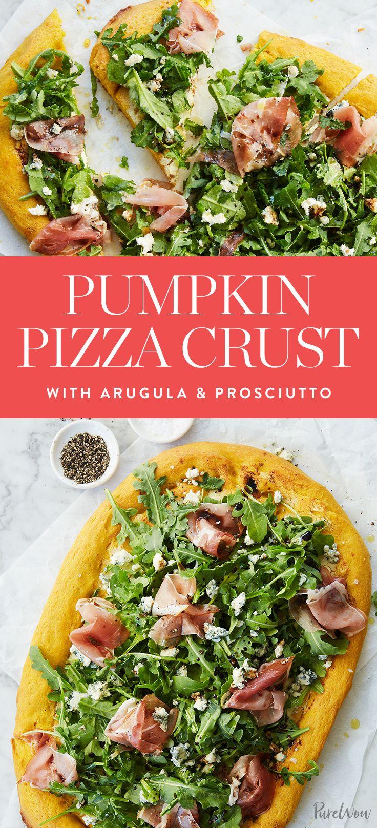 Pumpkin Pizza Crust with Arugula and Prosciutto via @PureWow