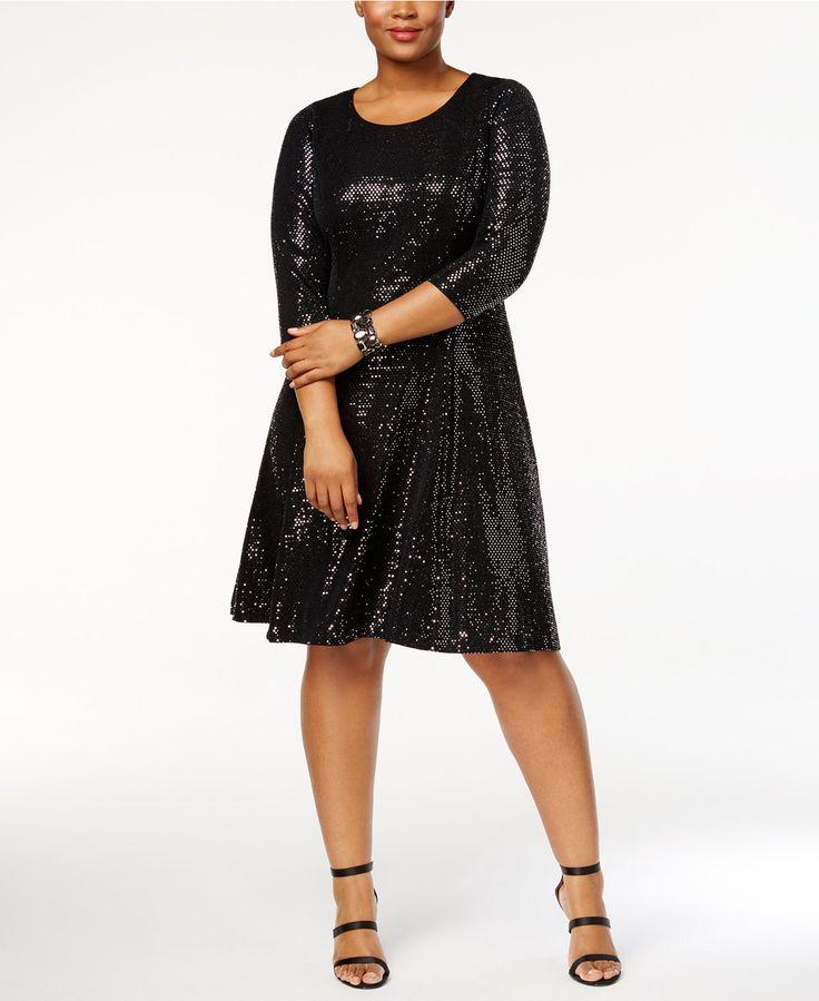 Calvin Klein Plus Size Sequined Fit & Flare Dress - Plus Size Sequin Dress - SLP - Macy's