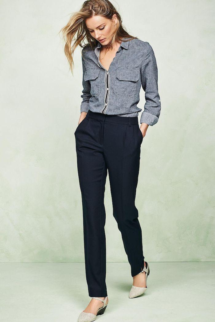 formal utility shirt - navy pants