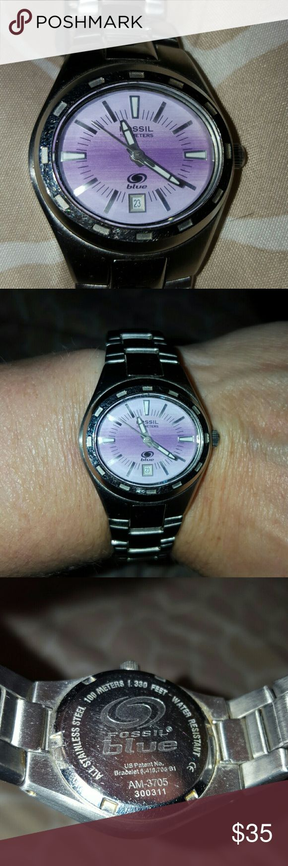 Fossil blue watch Water resistant up to 100 meters It does need a new battery.  Scratches from wear. Fossil Jewelry Bracelets