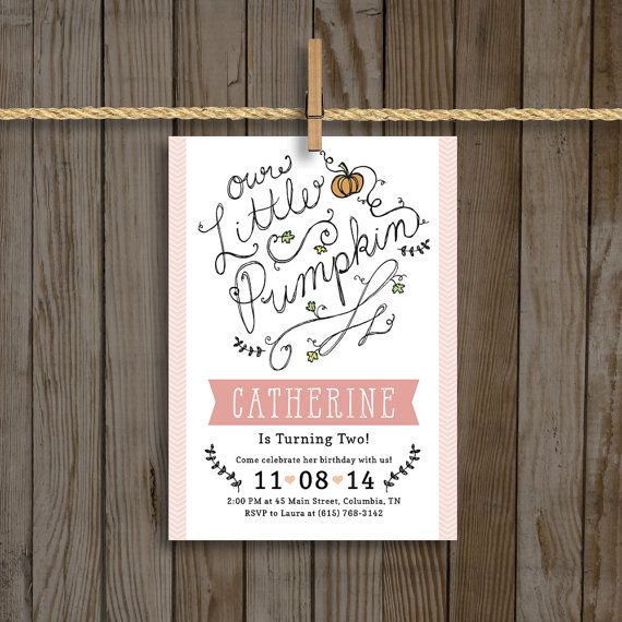 Fall Birthday Invitation for a Girl Our Little by StudioBprintshop